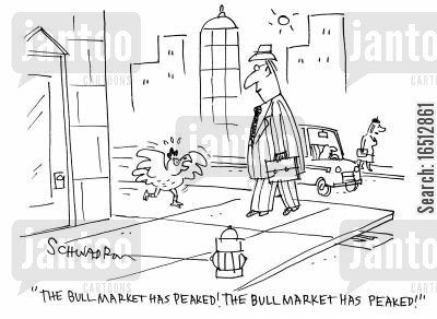 bull markets cartoon humor: 'The bull market has peaked! The bull market has peaked!'