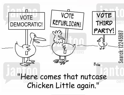 nutcase cartoon humor: Here come that nutcase Chicken Little again.