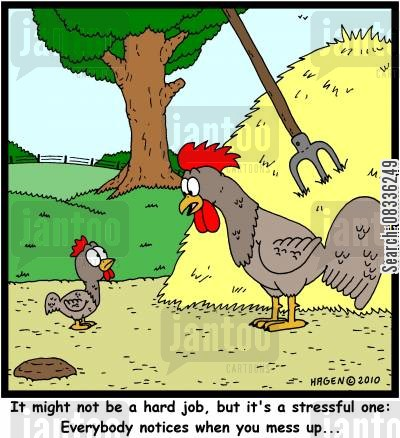 barnyards cartoon humor: It might not be a hard job, but it's a stressful one: Everybody notices when you mess up...'