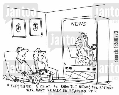 tv rating cartoon humor: 'They hired a chimp to read the news! The ratings war must really be heating up.'