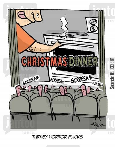 scary movies cartoon humor: Christmas dinner - Turkey Horror Flicks.