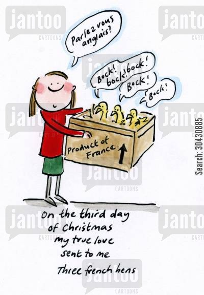 christmas song cartoon humor: On the third day of Christmas...