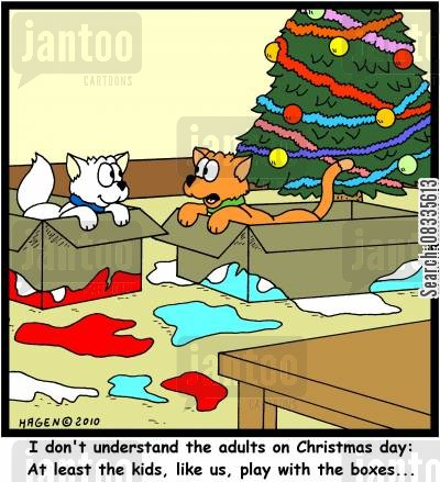 cardboard box cartoon humor: 'I don't understand the adults on Christmas Day: At least the kids, like us, play with the boxes...'