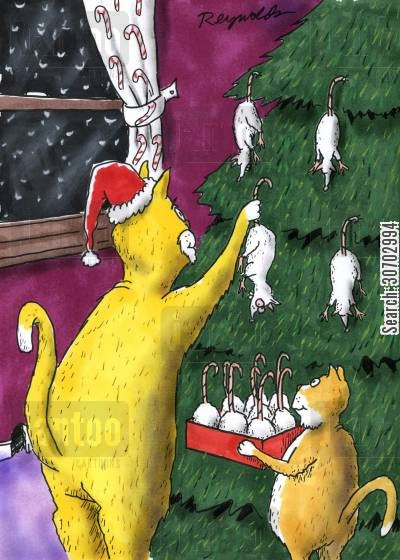 happy holiday cartoon humor: Cat Hanging Mice on Christmas Tree.