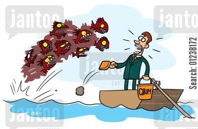 lures cartoon humor: Fisherman gets attacked by piranhas after using chum as bait.