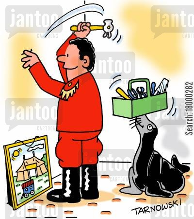 animal trainer cartoon humor: Seal helping its trainer hang a picture.