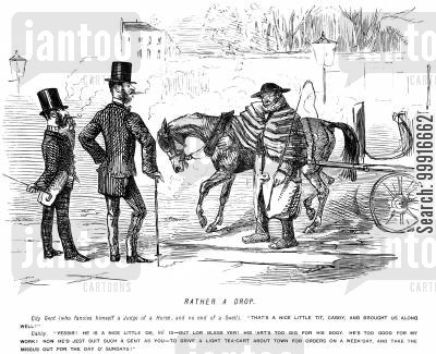cabman cartoon humor: Cab driver trying to sell his horse to a swell who admires it