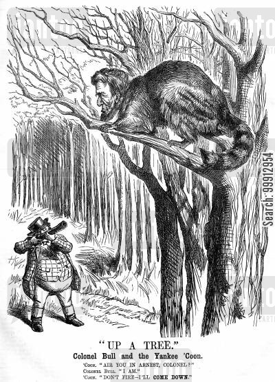 neutral cartoon humor: John Bull aiming a gun at a racoon with Abraham Lincoln's head
