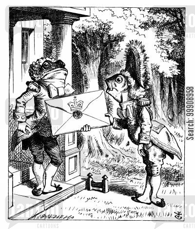 footmen cartoon humor: Alice in Wonderland - The Fish-Footman and the Frog-Footman.