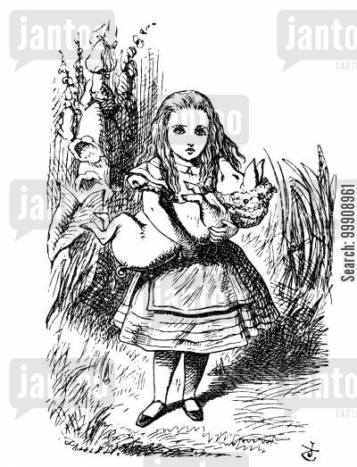 children's literature cartoon humor: Alice in Wonderland - The Pig Baby.