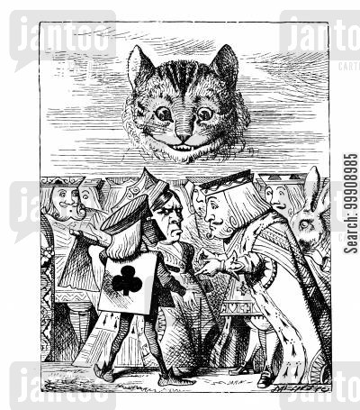 children's literature cartoon humor: Alice in Wonderland - Trying to Behead the Cheshire Cat.