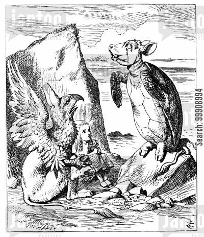 gryphon cartoon humor: Alice in Wonderland: Alice, the Mock Turtle and Gryphon.