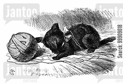 ball of wool cartoon humor: Alice Through the Looking Glass - The Black Kitten.