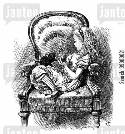 ball of wall cartoon humor: Alice Through the Looking Glass - Alice and the Black Kitten.