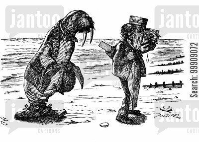 children's literature cartoon humor: Alice Through the Looking Glass - The Walrus and Carpenter.
