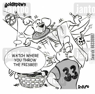 clothes line cartoon humor: Watch where you throw the frisbee!