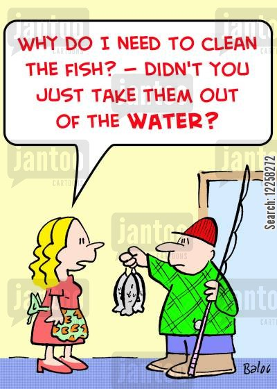 cleaning fish cartoon humor: 'Why do I need to clean the fish? -- Didn't you just take them out of the WATER?'