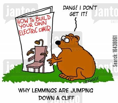 cliff edge cartoon humor: Why lemmings are jumping down a cliff