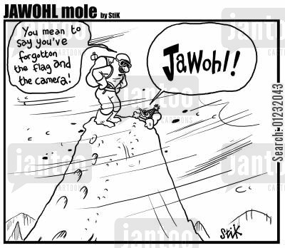 jawohl cartoon humor: 'You mean to say, you forgot the flag and the camera?' - 'Jawohl!'