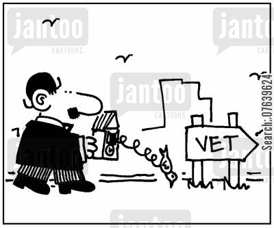 cuckoo cartoon humor: Man taking cuckoo clock to the vet.