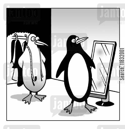new suit cartoon humor: The penguin suit.