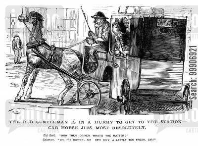 horse and carriages cartoon humor: A carriage on the way to the station