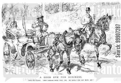 flyman cartoon humor: A carriage driver interested in acquiring a different horse
