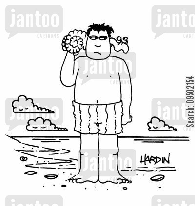 crustacean cartoon humor: Man listening to a shell, worm crawling through his ear