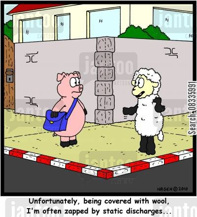 electrocuted cartoon humor: 'Unfortunately, being covered with wool, I'm often zapped by static discharges...'