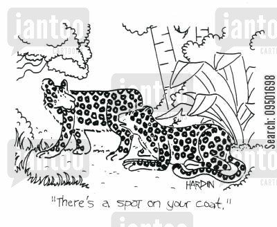 spilling food cartoon humor: 'There's a spot on your coat.'
