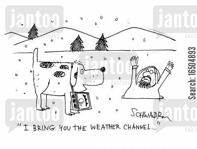 televison channels cartoon humor: 'I bring you the weather channel...'