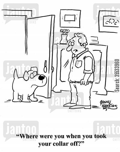 dog collar cartoon humor: Man to dog: 'Where were you when you took your collar off?'