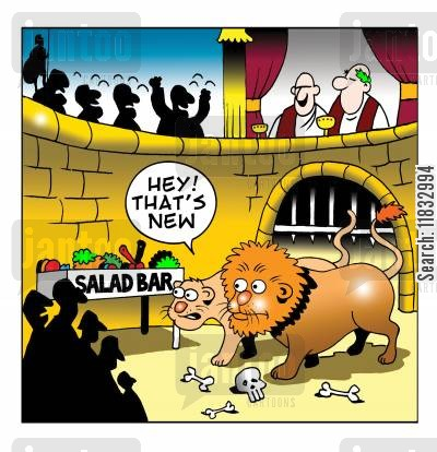 colloseum cartoon humor: Lions see the salad bar: That's new!