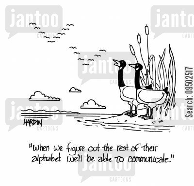 birds flying in a v cartoon humor: 'When we figure out the rest of their alphabet we'll be able to communicate.'