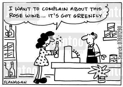 rose garden cartoon humor: 'I want to complain about this rose wine...it's got greenfly.'