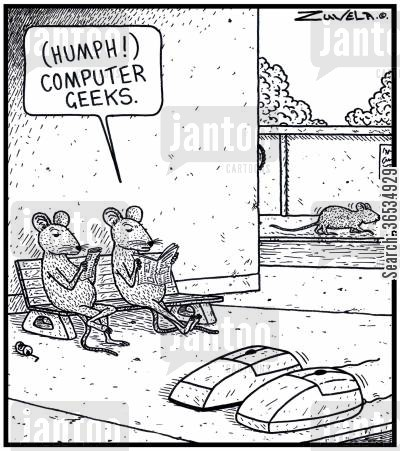 computer nerds cartoon humor: Mouse: '( Humph! ) Computer Geeks.'