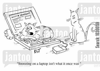 portable cartoon humor: Snoozing on a laptop