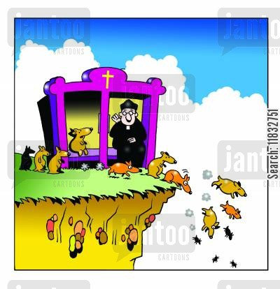 confessional booths cartoon humor: Lemmings confession.
