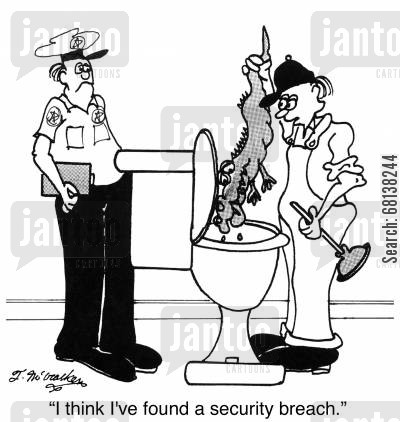 clogged toilet cartoon humor: 'I think I've found a security breach.'