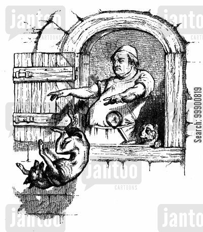 aesop's fables cartoon humor: Aesop's Fables - Cook throws Dog from Kitchen Window