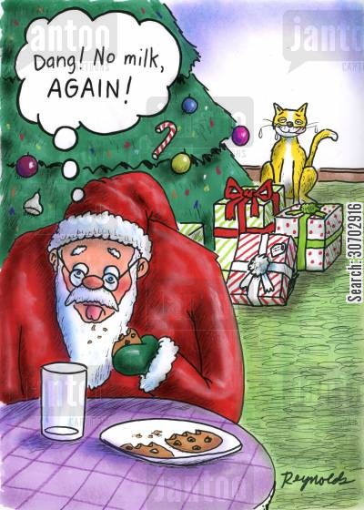 cookies and milk cartoon humor: No milk for Santa Claus
