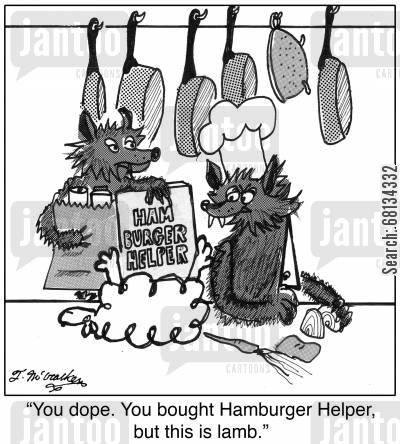 cook book cartoon humor: 'You dope. You bought Hamburger Helper, but this is lamb.'