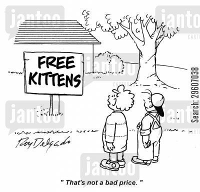 cheapest cartoon humor: 'That's not a bad price.'