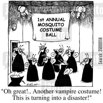 mosquito cartoon humor: Oh great! Another vampire costume! This turning into a disaster!