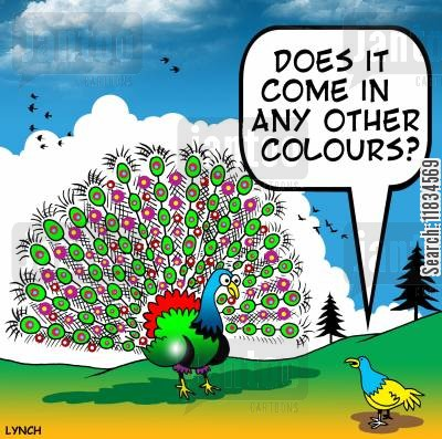 plumages cartoon humor: 'Doesn't it come in any other colours?'