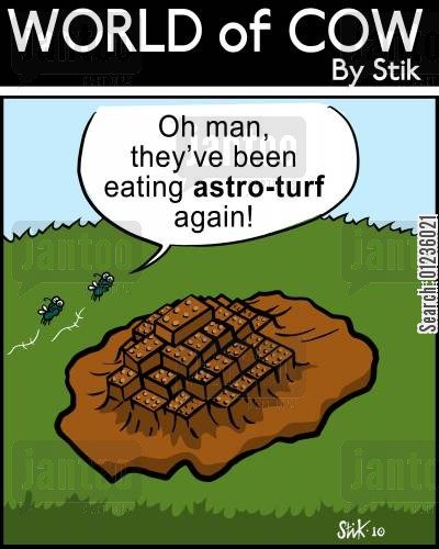 eating grass cartoon humor: Oh man, they've been eating Astro-Turf again!