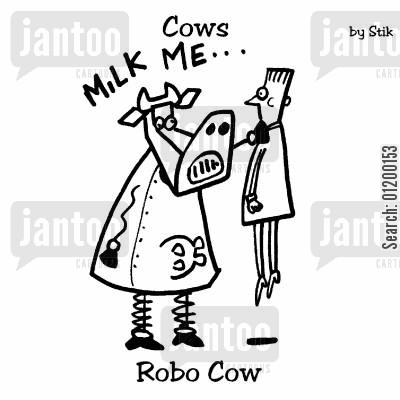 technological cartoon humor: COWS: Robo Cow