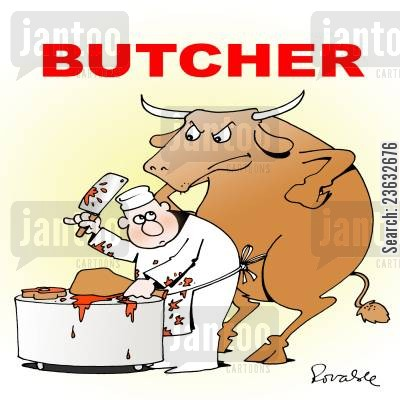 abbatoir cartoon humor: Butcher.