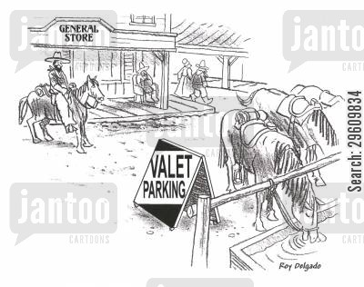 parks cartoon humor: Valet parking.
