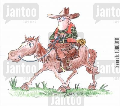 horse riders cartoon humor: Cowboy on horse